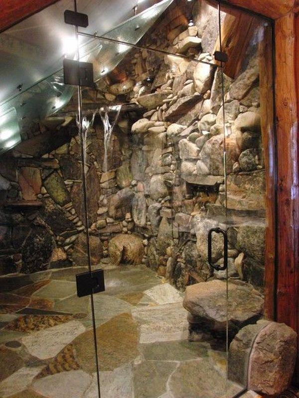 13 duchas que sin duda har n del ba o tu estancia favorita for Duchas rusticas piedra