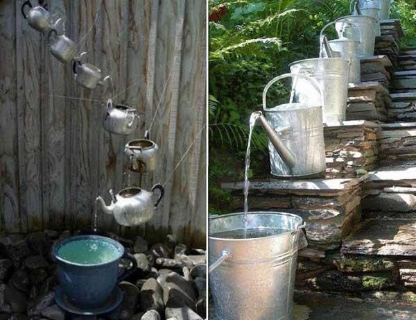 fuentes utensilios cocina reciclados teteras regadoras metalicas