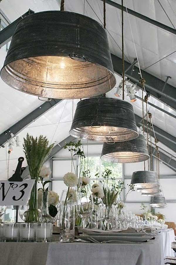 lamparas utensilios cocina reciclados barrenos metalicos luz encendida