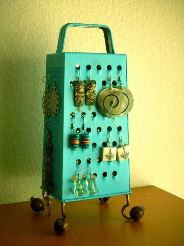 colgar pensientes utensilios cocina reciclados rallador
