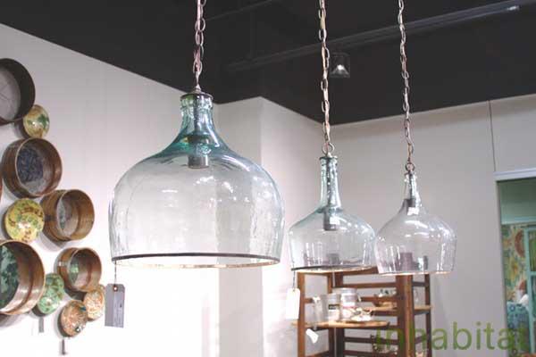 lamparas utensilios cocina reciclados garrafas cristal cortadas