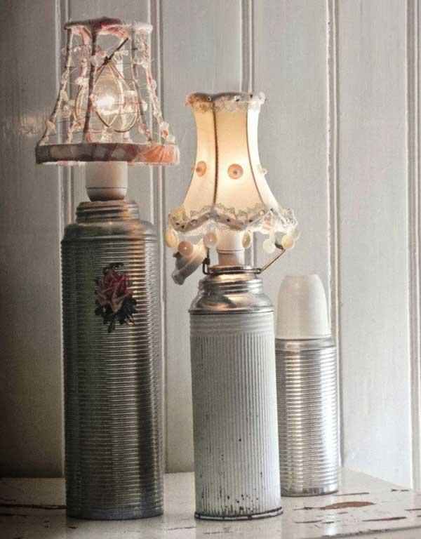 lamparas utensilios cocina reciclados termos metalicos