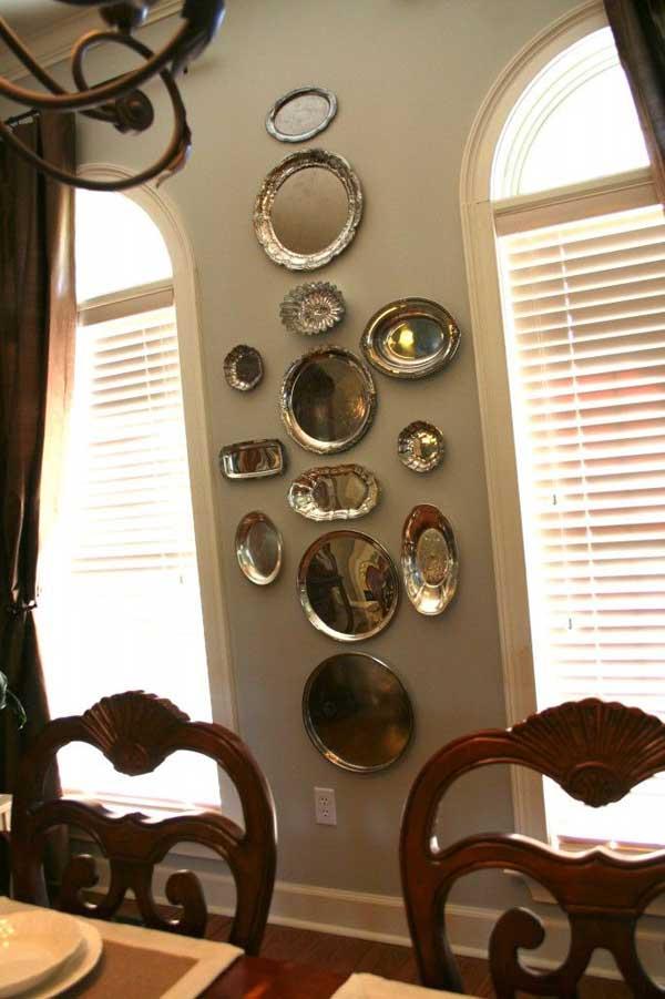 decoracion utensilios cocina reciclados bandejas metalicas