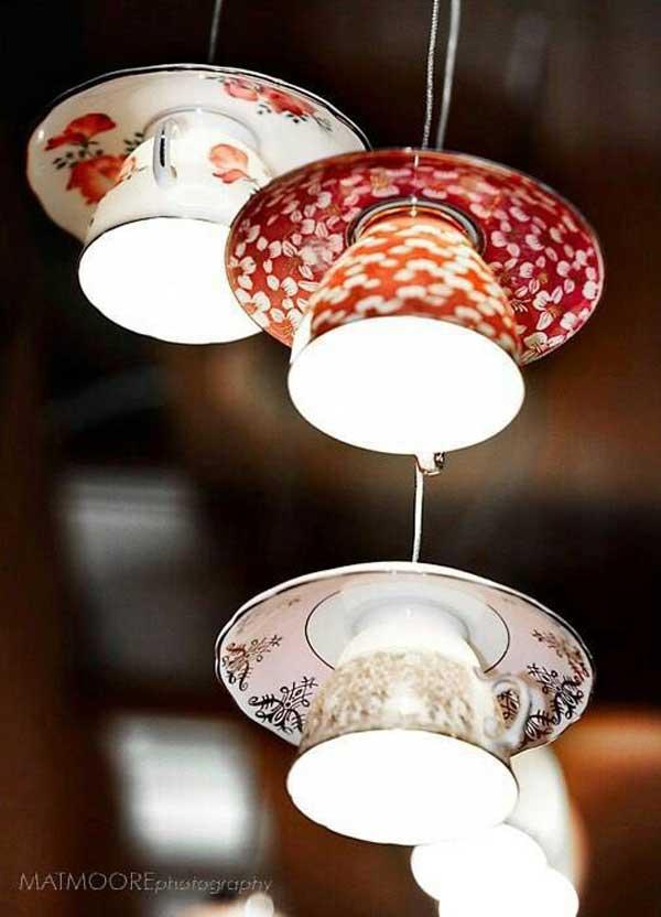 lamparas utensilios cocina reciclados tazas platos colores