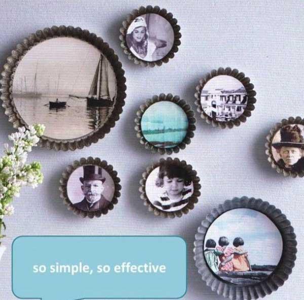marcos fotos redondos utensilios cocina reciclados moldes pastel flan