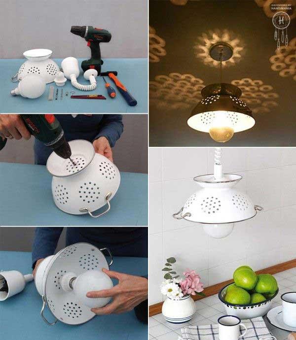 lamparas utensilios cocina reciclados coladores metalicos blancos