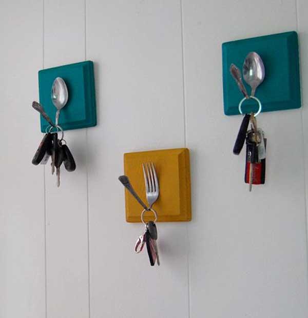 Colgadores llaves utensilios cocina reciclados cucharas tenedores