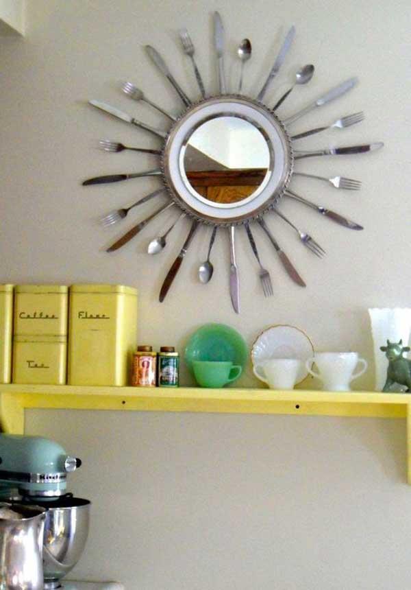 espejo sol utensilios cocina reciclados cucharas tenedores cuchillos