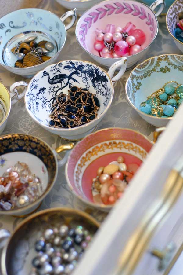 organizador joyas utensilios cocina reciclados tazas ceramica