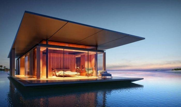 tiny house casa pequena flotante mar noche habitacion