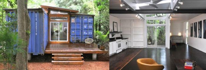 tiny house casa pequena construida contenedores barco exterior vegetcion interior blanco madera