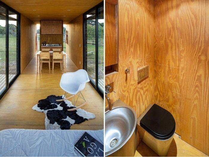 tiny house casa pequena construida prisma horizontal interior sala baño