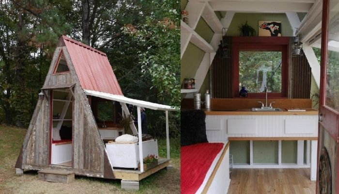 tiny house casa pequena construida triangulo exterior naturaleza interior madera