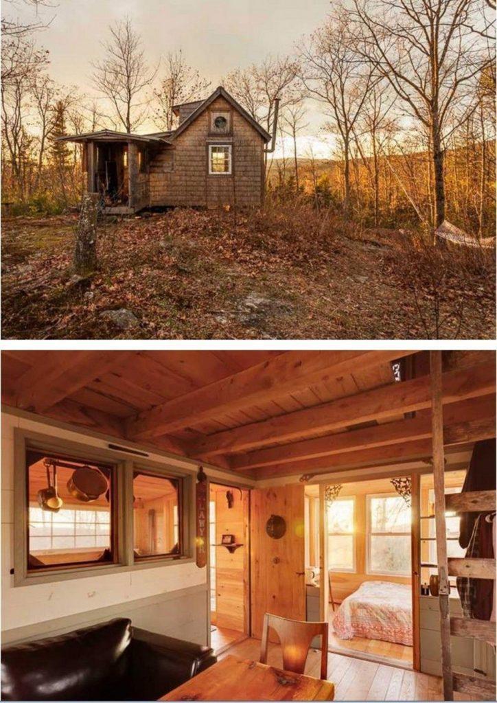 tiny house casa pequena construida madera exterior naturaleza interior