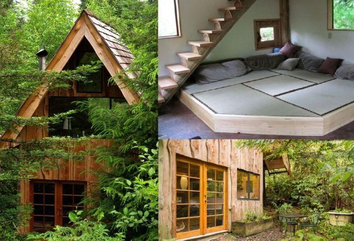 tiny house casa pequena construida madera naturaleza interior escalera