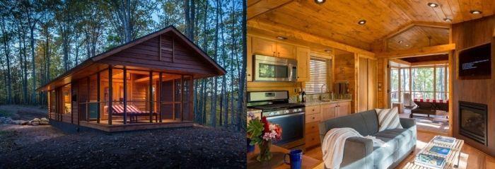 tiny house casa pequena construida madera porche exterior arboles interior cocina sofa chimenea