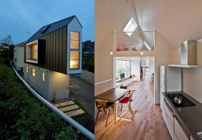 tiny house casa pequena construida espacio pequeno estrecha dos pisos noche luz