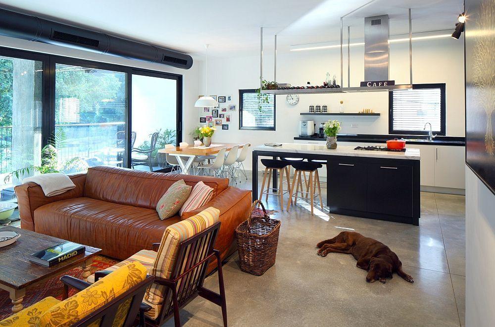 apartamento moderno cocina sala estar ventanal perro