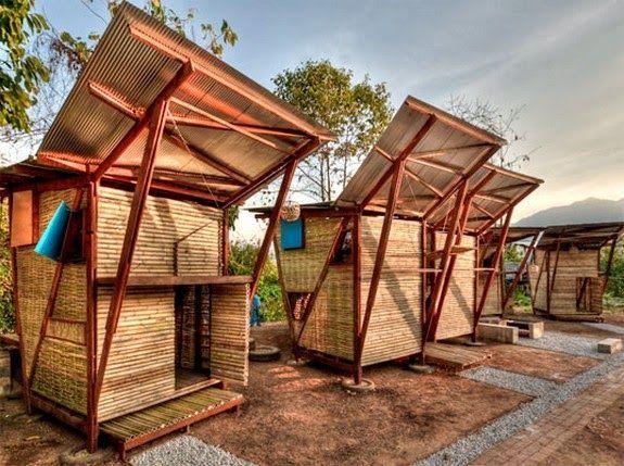 casas bambu orfanato varias separadas paredes techo suelo