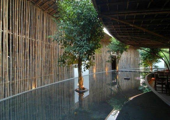 estructura exterior casa bambu techo arboles