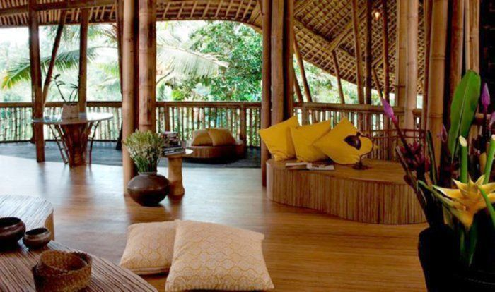 interior porche bambu cojines suelo madera vegetacion exterior