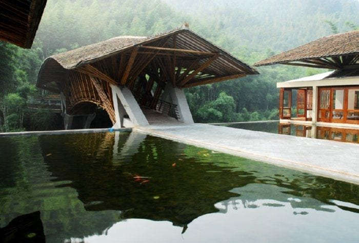 cubierta puente bambu agua ondulacion casa