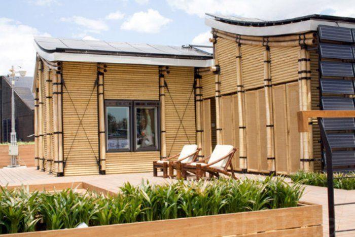 casa inteligente estructura bambu exterior amacas tejado chino