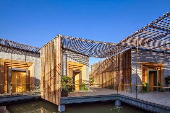 casa te patio bambu lateral techo exterior agua