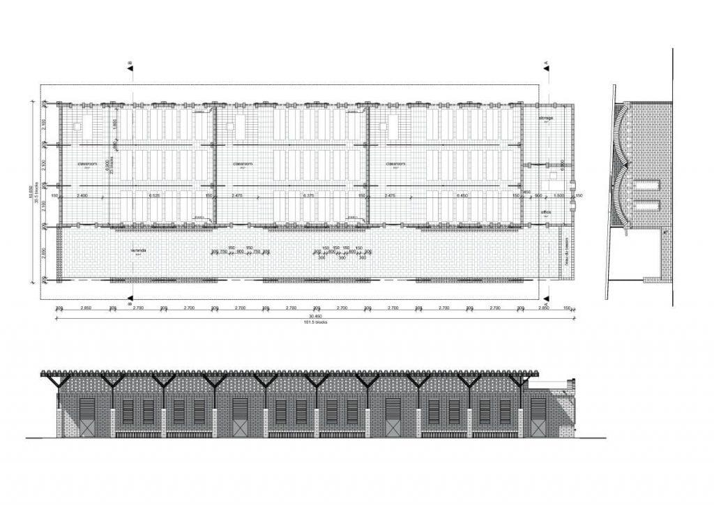 plano planta proyecto escuela servicios porche frontal