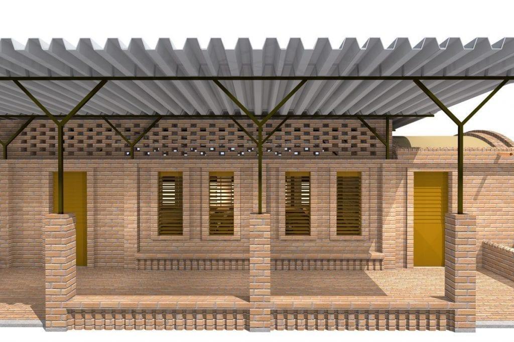 detalle 3d porche frontal tejado plancha