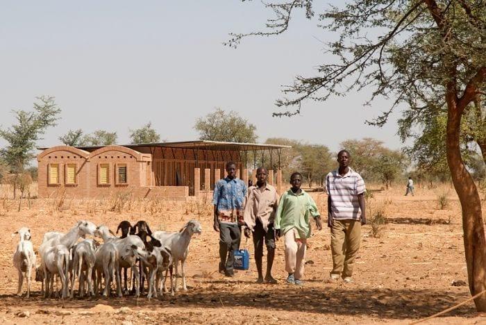 escuela arcilla detras cabras pastores campo seco