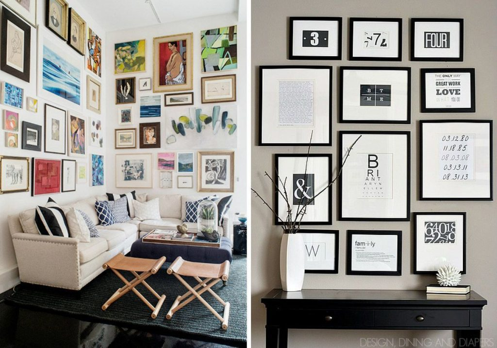 18 ideas para llenar una pared con cuadros casas for Decoracion con espejos en paredes