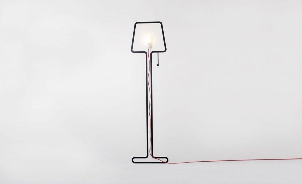 lampara diseno contorno simple cable rojo