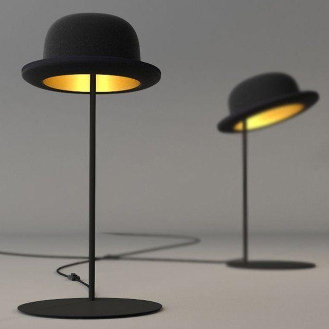 lamparas forma sombrero encendido dentro pie tubo base metal