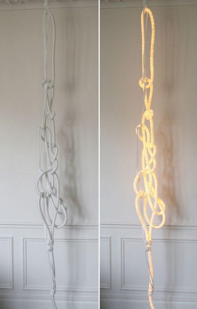 lampara diseno nudos cuerda apagada encendida
