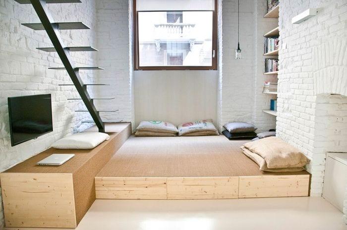 loft diseno escandinavo biblioteca escalera ordenador ventana