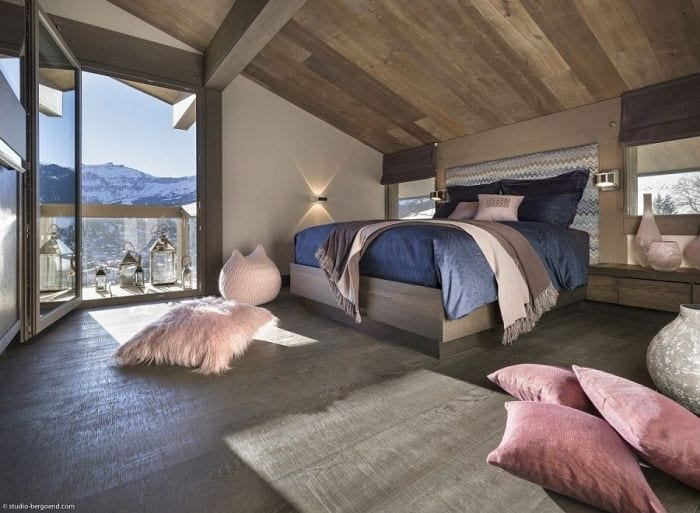 Modern-decor-and-chevron-pattern-headboard-for-the-chalet-bedroom