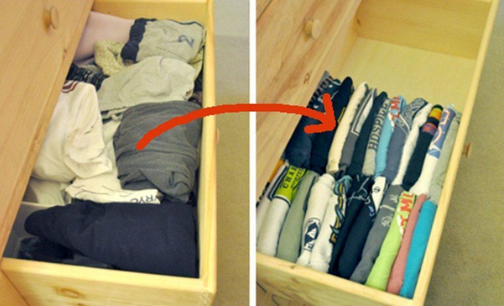 18 trucos para organizar armarios y cajones que te har n for Guardar bolsos en armario