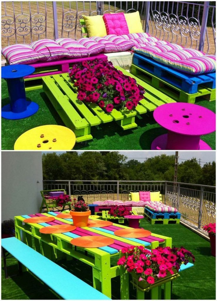 20 fant sticas ideas para decorar tu jard n con objetos for Mesas de palets para jardin