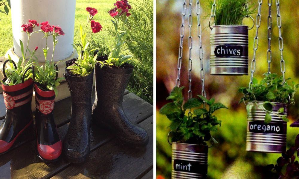 20 Fantasticas Ideas Para Decorar Tu Jardin Con Objetos Reciclados - Objetos-reciclados-para-decorar