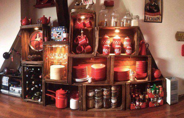 27 maneras de decorar tu casa utilizando cajas de madera - Cajas para cocina ...