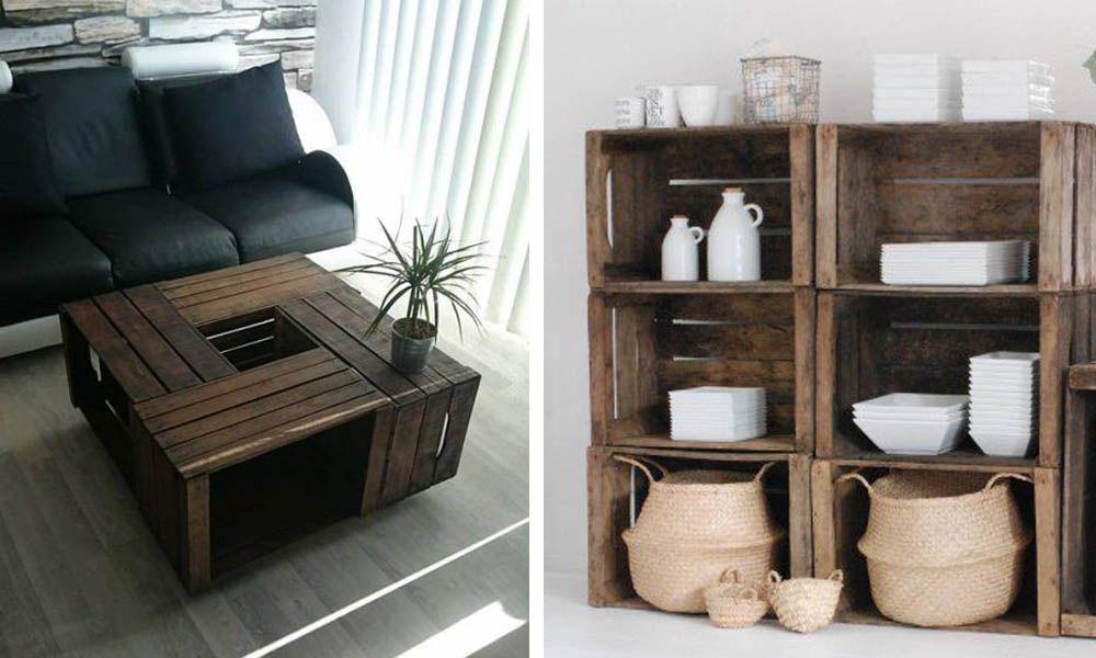 27 maneras de decorar tu casa utilizando cajas de madera - Cajas madera para decorar ...