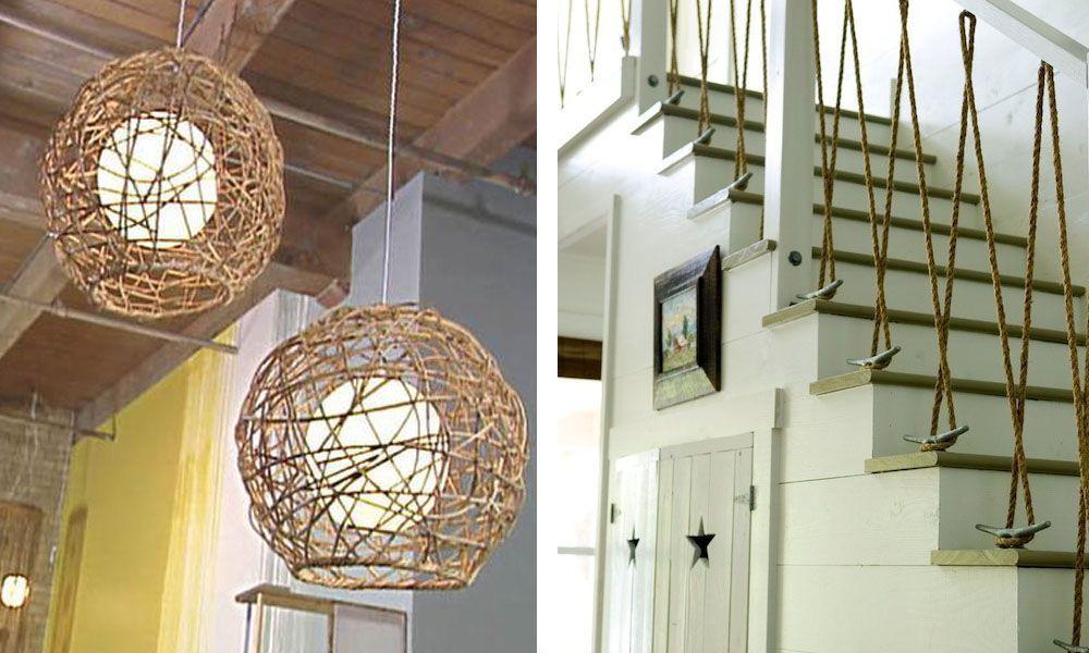 22 ideas imprescindibles para decorar con cuerdas casas for Lamparas y plafones de pared