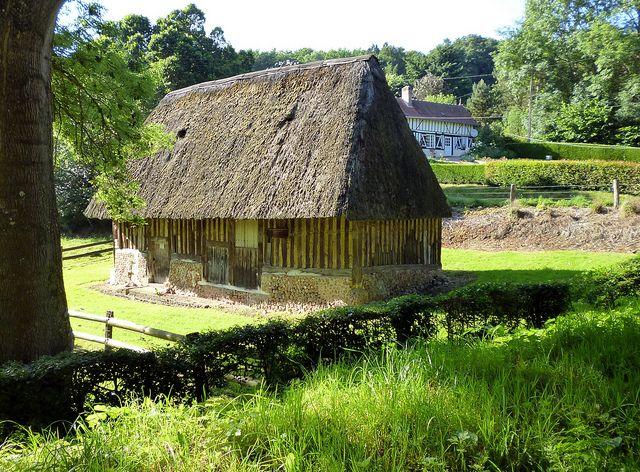 tipos-casas-mundo-chaumière-tejado-paja-arbol-prado-verde