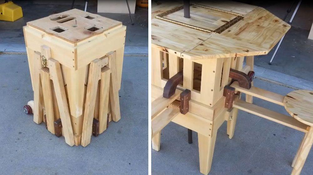 Mira en lo que se convierte este bloque de madera genial - Como hacer una mesa plegable ...