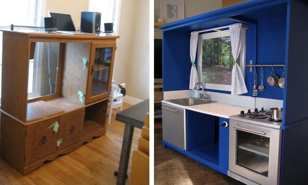 Construye incre bles cocinitas de juguete con muebles reciclados casas incre bles - Muebles de cocina reciclados ...