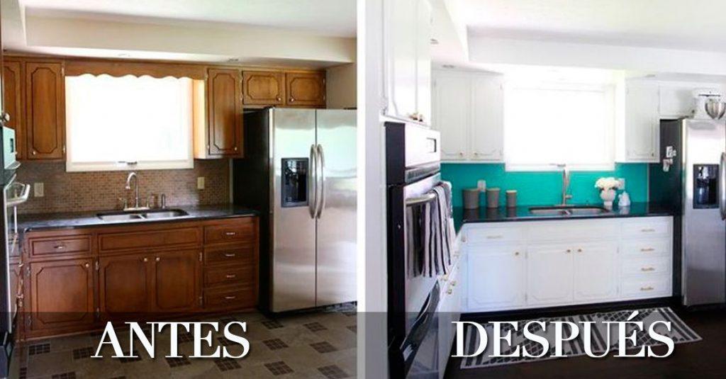 6 ejemplos de c mo puedes renovar tu cocina sin hacer obra for Cocinas de obra
