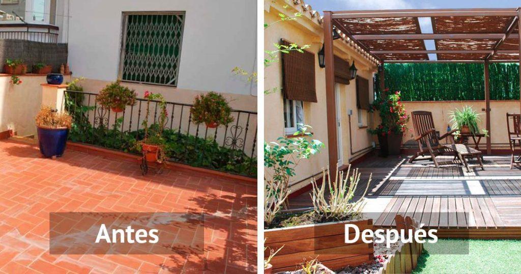 Antes y después de varias terrazas