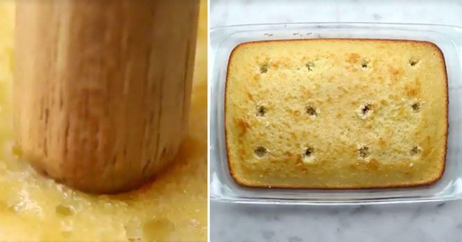 Agujerea un bizcocho para hacer pasteles