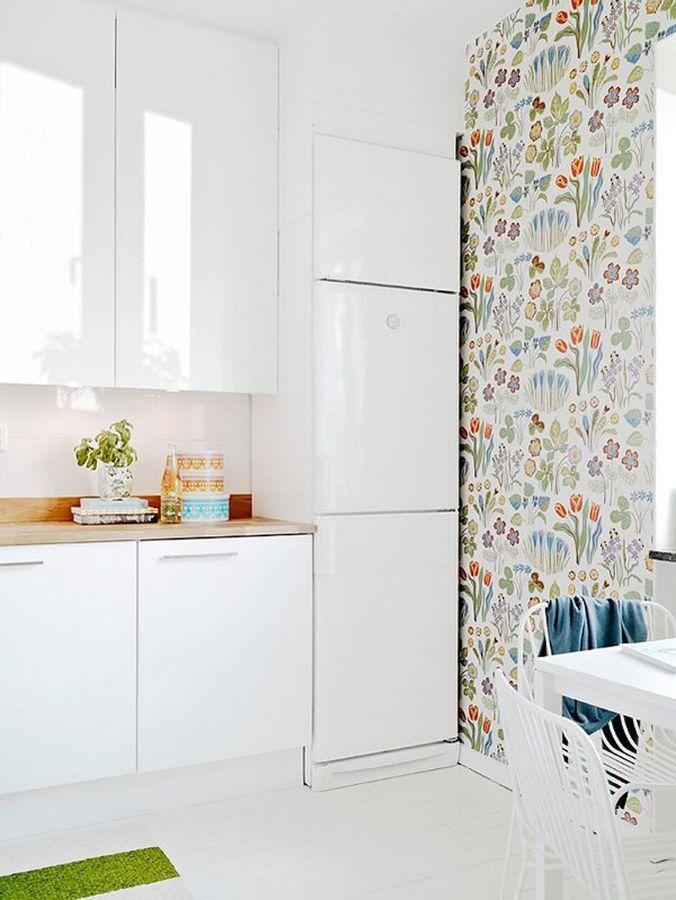 10 cocinas con papel pintado que te van a enamorar casas - Papel pintado para azulejos ...